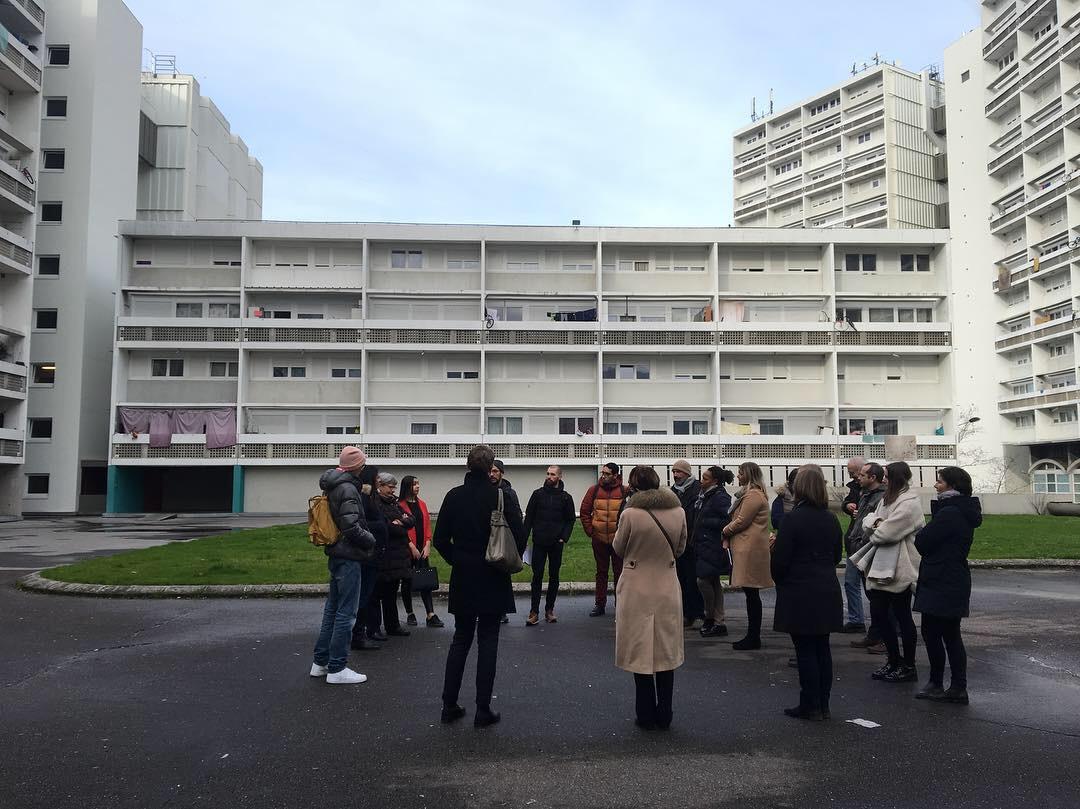 visite des quartiers Ginko - Aubiers avec les artistes