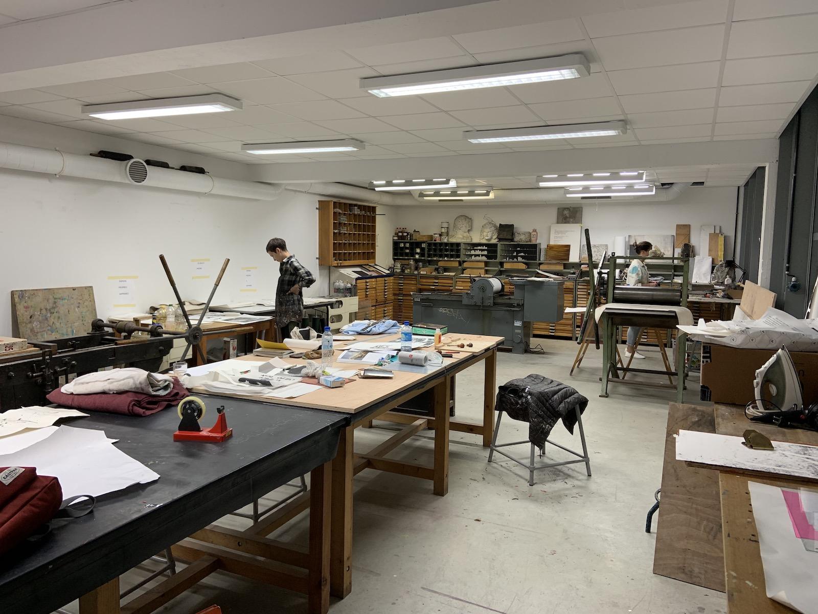 Atelier impression à l'école nationale supérieure d'art de limoges.